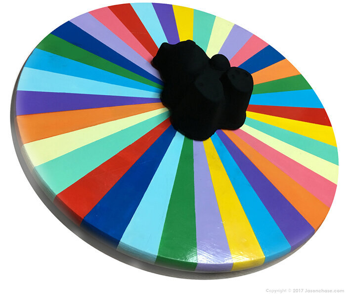 multicolored 3d wheel with extreme black in center