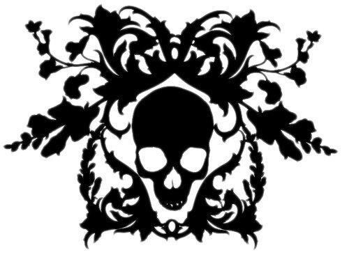 print of skull in vines