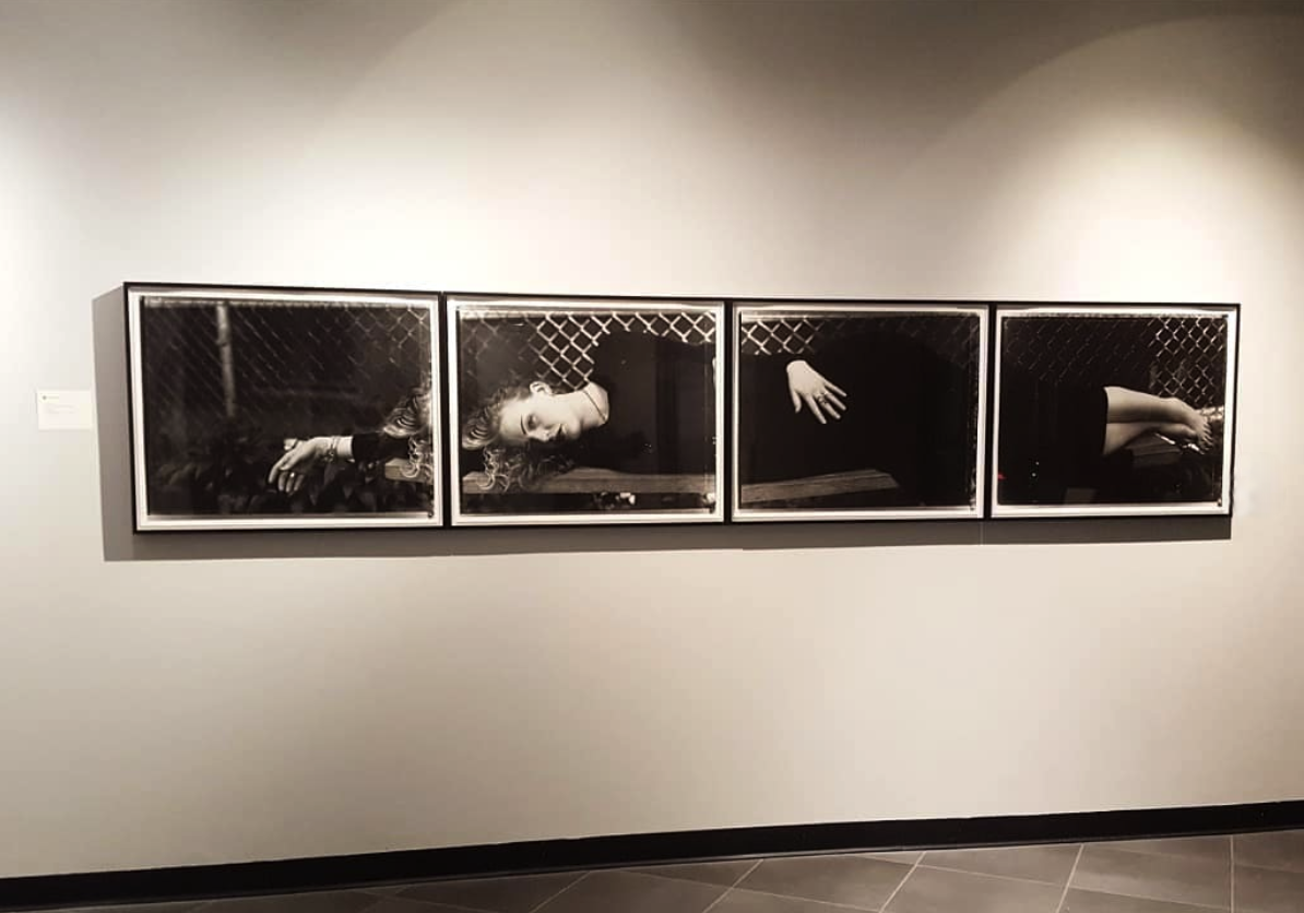 gallery wall with segmented photograph of a woman reclining