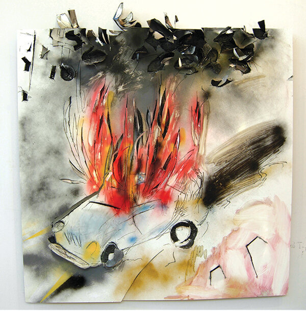 painting of car on fire